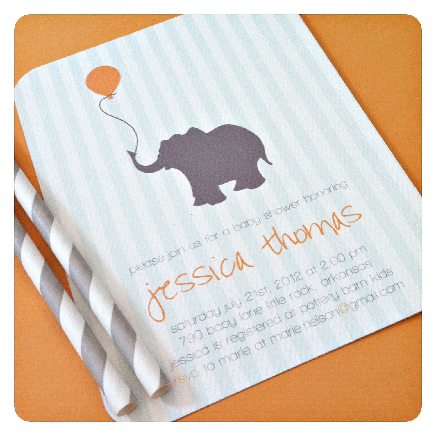 Baby elephant. baby shower invitation. three color options ...