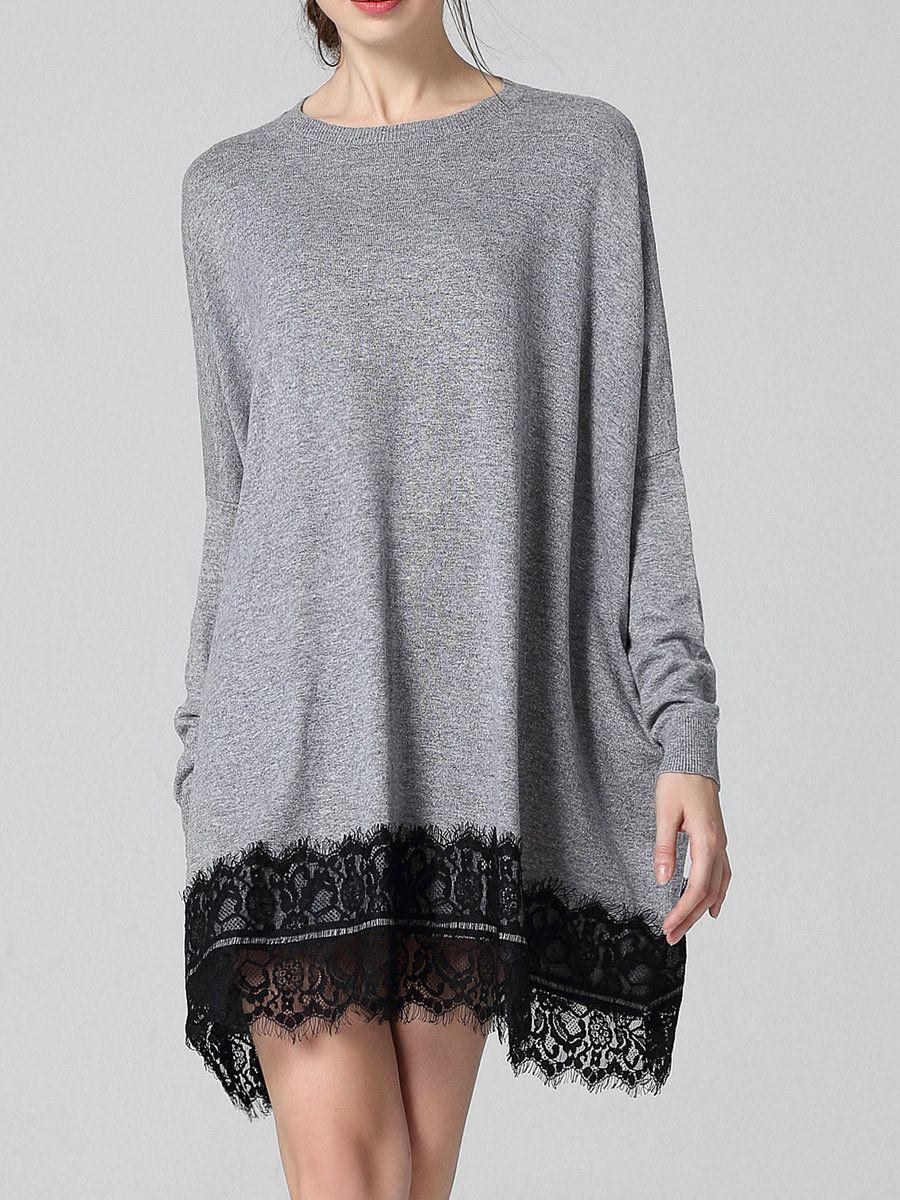 #AdoreWe #StyleWe PHILIS Gray Long Sleeve Knitted Lace Plain Sweater - AdoreWe.com