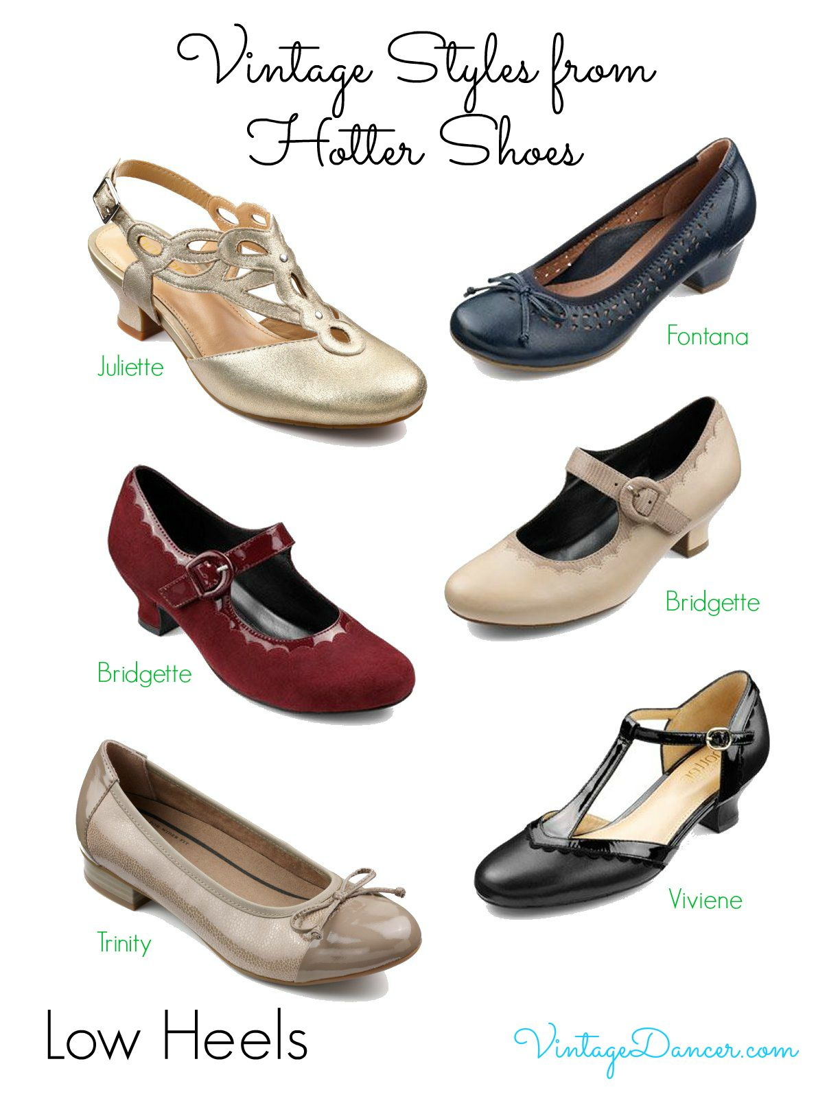 22480e30088f Vintage style Hotter Shoes. These styles could easily suit eras from the  1920s up to the 1960s. Shop them at VintageDancer.com