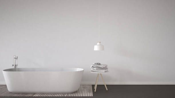 Scandinavian Bathroom Background Bathtub Table And Lamp On Natural