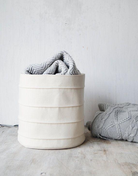 Large Toy Storage Basket Nursery Fabric Canvas Bin Bathroom Bucket White Home Decor Laundry Room Kids