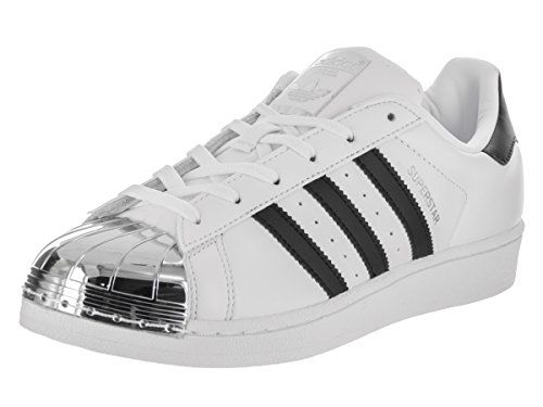 Adidas Women\u0027s Superstar Metal Toe Originals White/Black/Silver Metallic  Basketball Shoe 9 Women US. and heel tab. Rubber cupsole with  herringbone-pattern ...