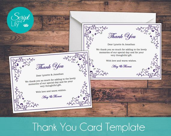 Thank You Card Template *FREE Color Change DIY Print at Home - free thank you card template for word