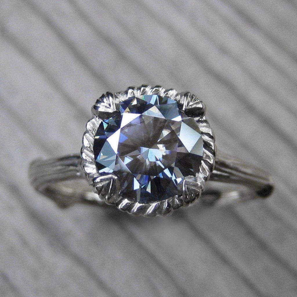 engagement gray ring moissanite rose radiant pave stone thin cut rings wedding promise diamond gold