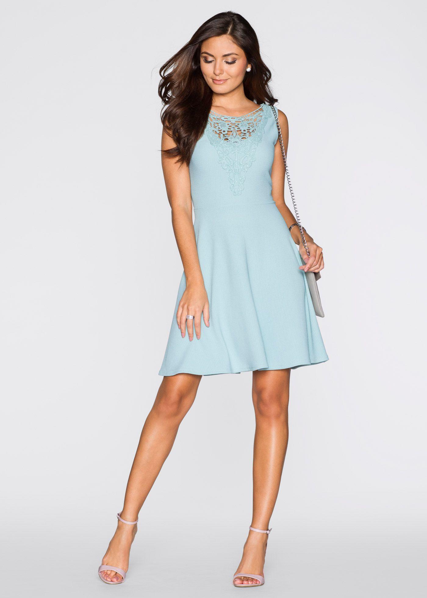 Kleid mit Spitze aquapastell - BODYFLIRT jetzt im Online Shop von