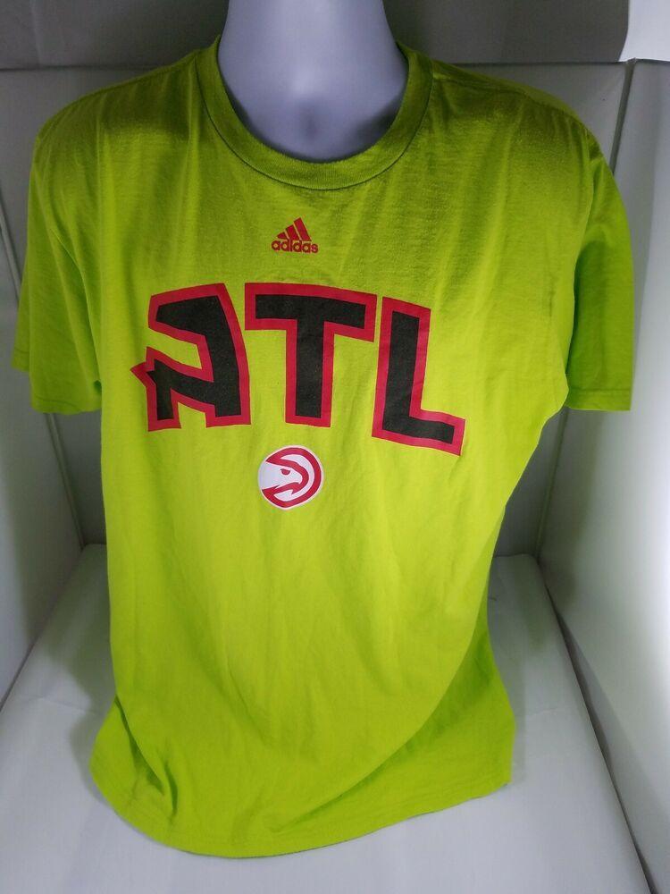Mens ADIDAS Atlanta Hawks Lime Green TShirt Short Sleeve