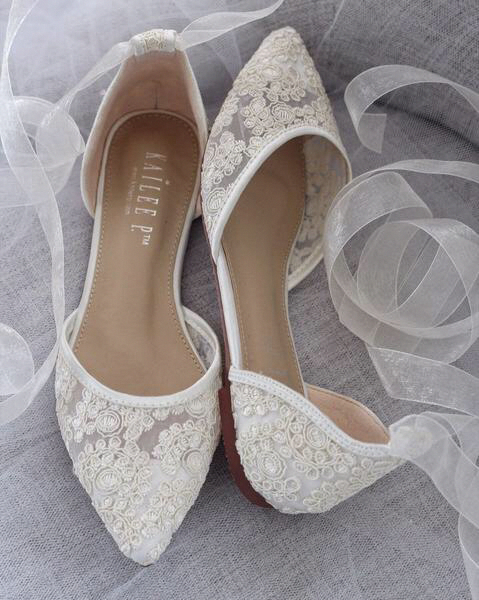 IVORY CROCHET LACE Pointy Toe with Sheer Organza Ballerina Lace Up