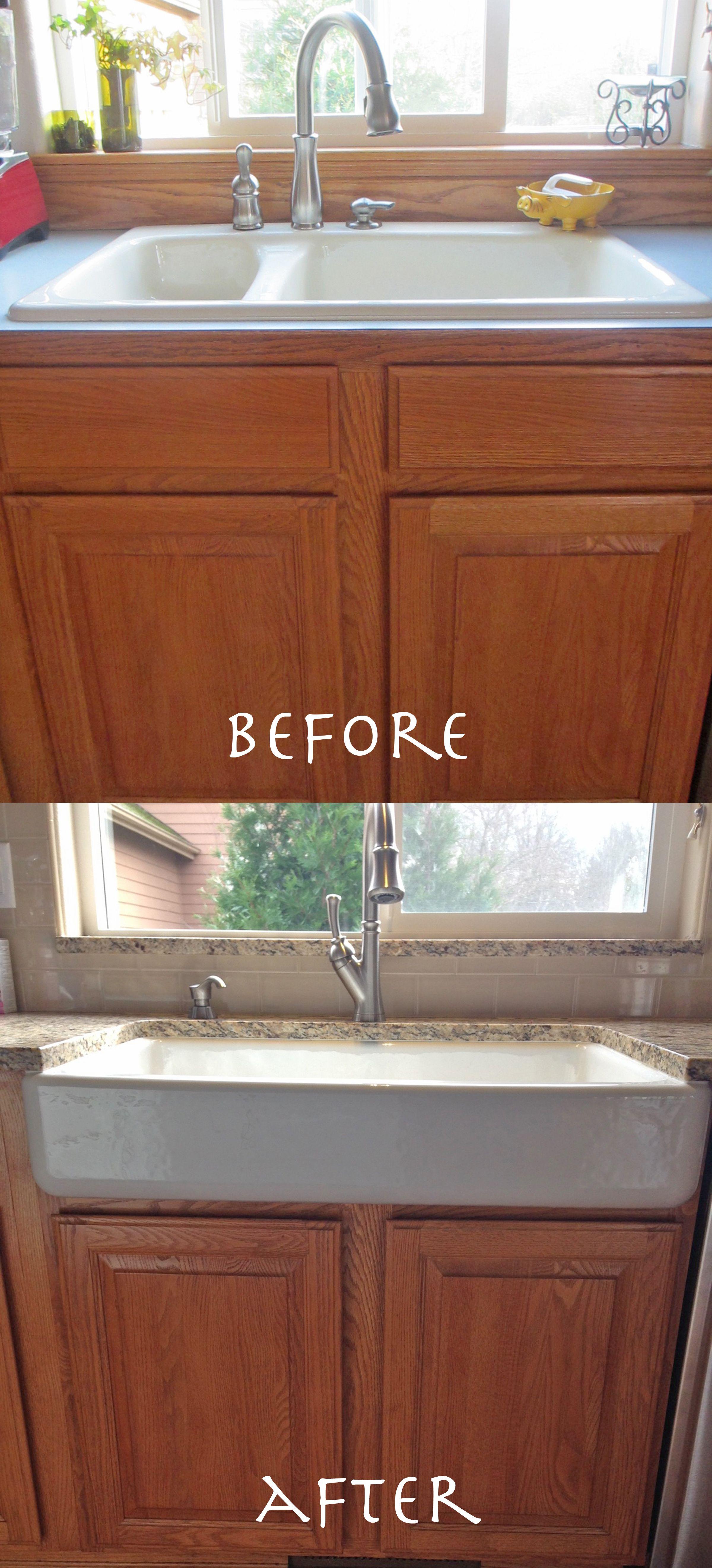 Apron Front Sink. Retrofit A Standard Cabinet. Kohler