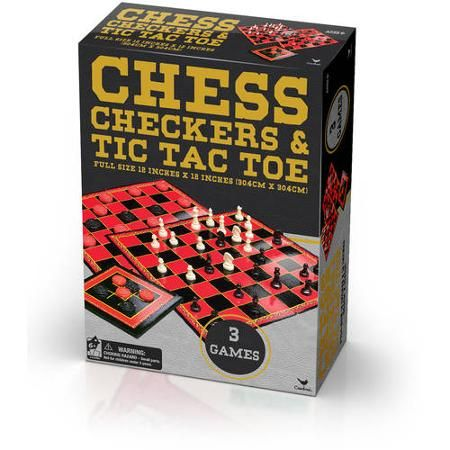 Cardinal Classic Games Chess, Checkers and Tic Tac Toe in Gold Foil Box - Walmart.com