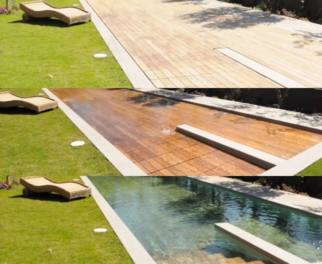Wooden Deck Transforms Into Swimming Pool Wooden Pool Pool Cover Swimming Pools Backyard