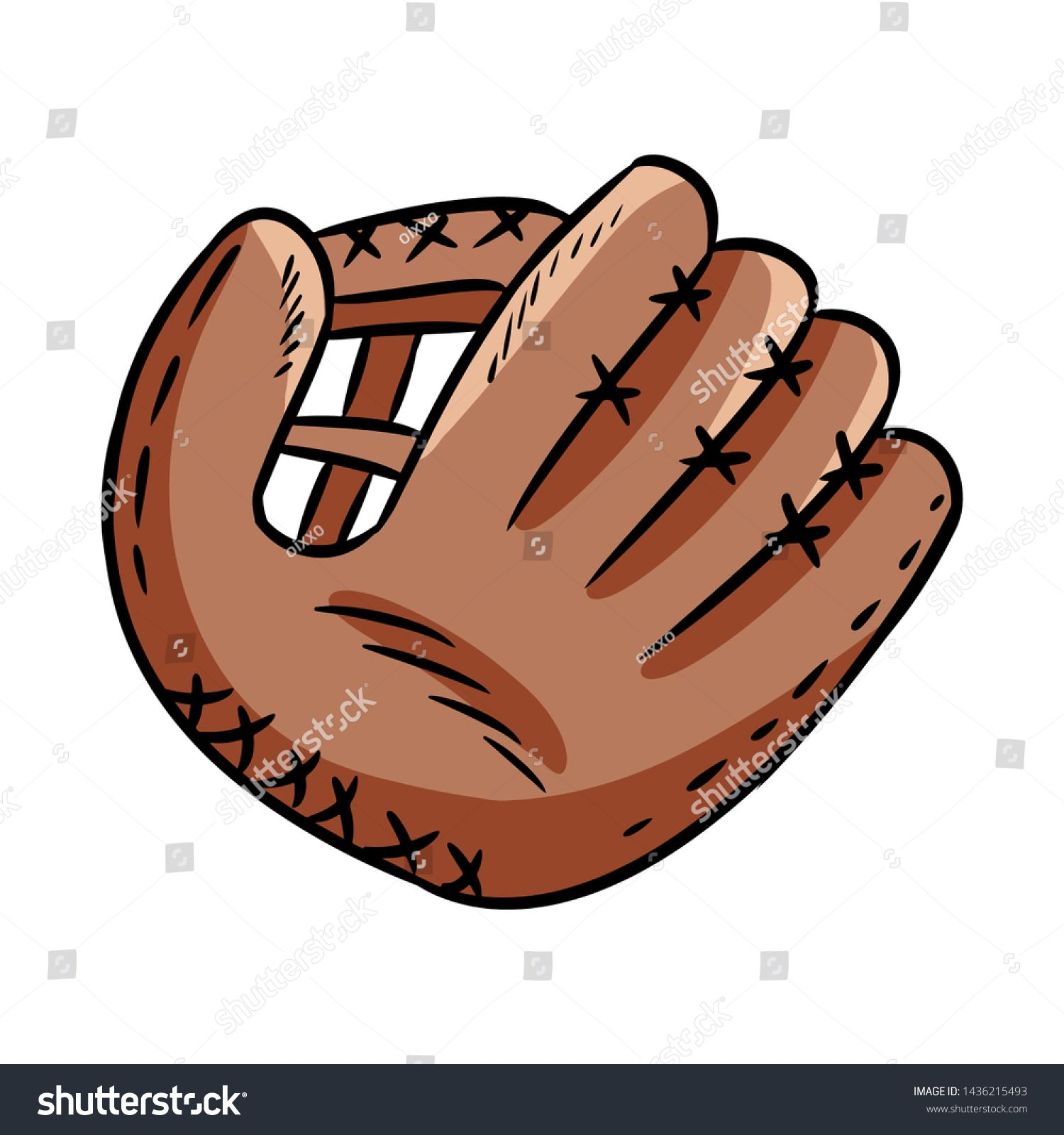 Hand Drawn Doodle Sketch Of Baseball Glove Cartoon Style Drawing For Posters Decoration And Print Ad Cartoon Style Drawing Doodle Sketch How To Draw Hands
