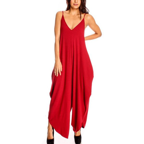 Red Spaghetti Strap Open Back Casual Jumpsuit (28 CAD) ❤ liked on Polyvore featuring jumpsuits, red, red sleeveless jumpsuit, open back jumpsuit, red jumpsuit, red jump suit and sleeveless jumpsuit
