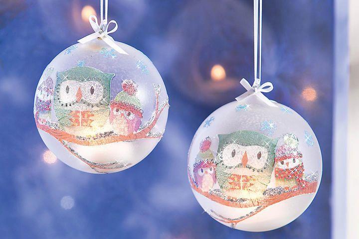 Weihnachtskugeln mit serviettentechnik die sch nsten - Christbaumkugeln selber machen ...