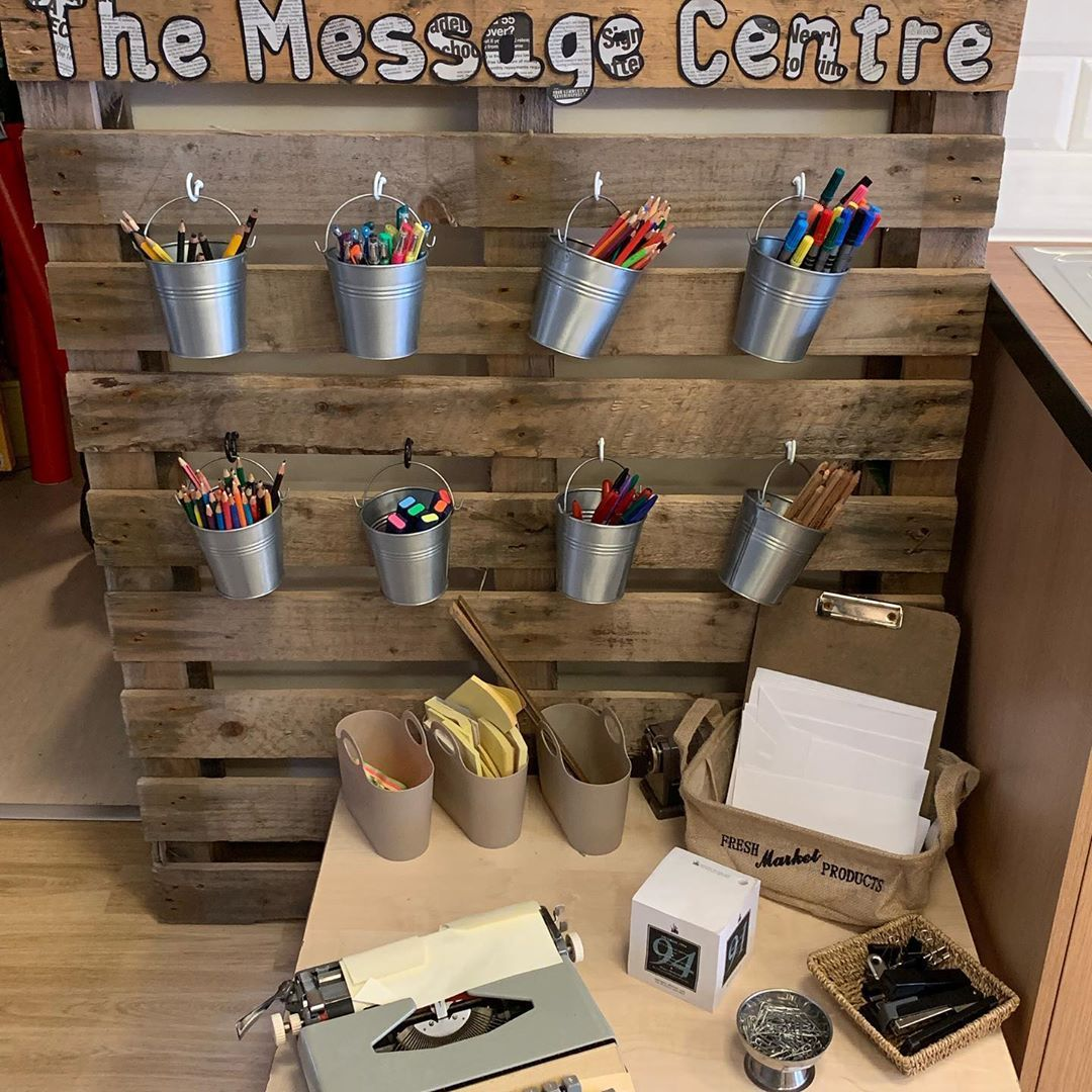 "KATPS Early Years Provision on Instagram: ""Our message centre to promote writing in EYFS #eyfs #messagecentre #reggio #writing #purpose #engagement #curiosity"""