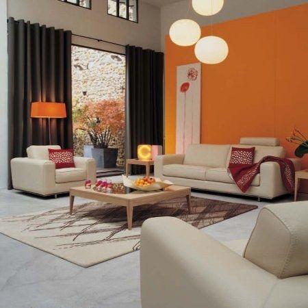 Deco Salon Blanc Orange : Photo Decoration Deco Salon Orange Blanc