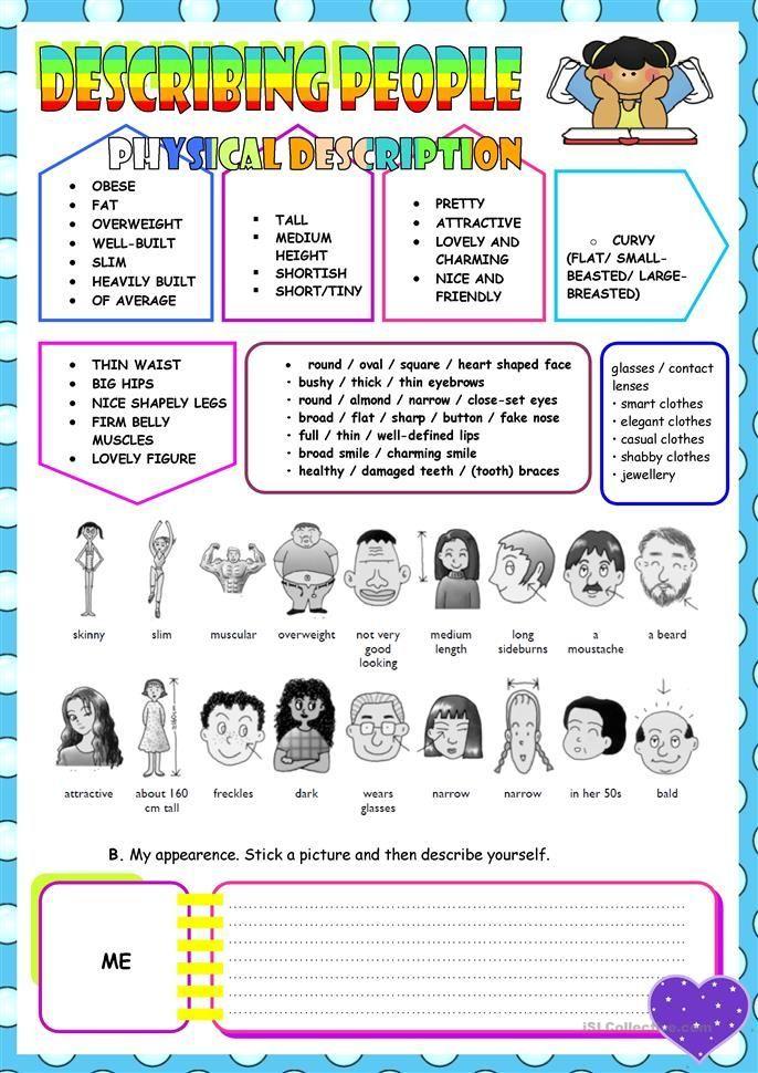 Describing People English Language Atividades Para Pre Escola