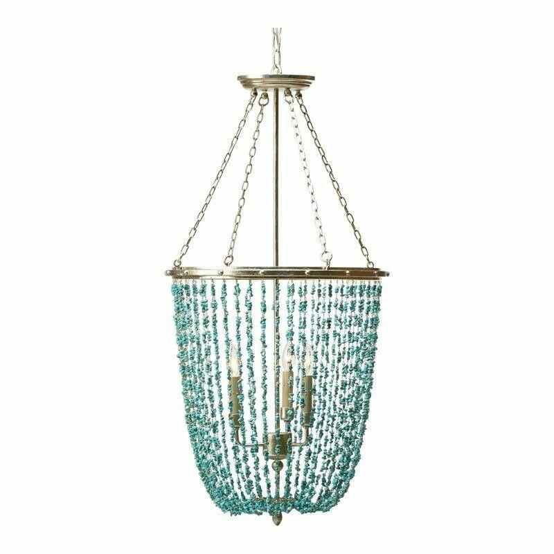 New Ethan Allen Valerie Turquoise Blue Beaded Chandelier 093646 Ebay Turquoise Chandelier Beaded Light Fixture Beaded Chandelier