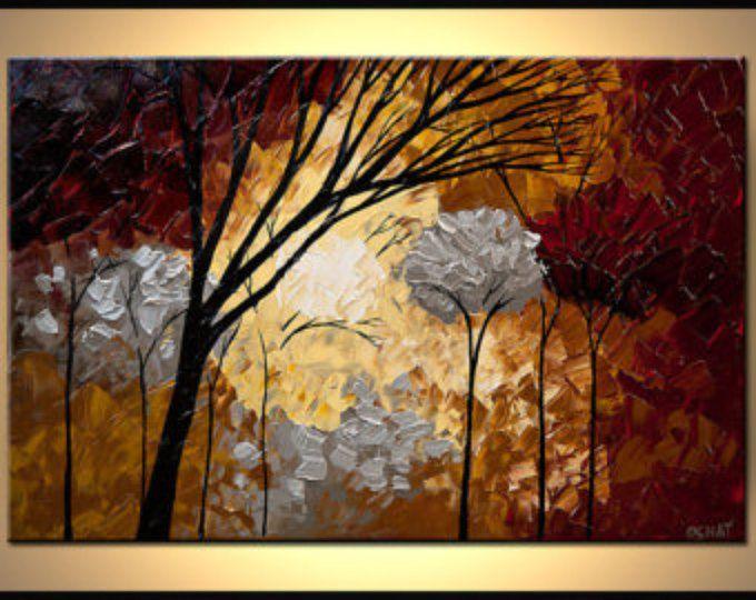 Plata del paisaje florido bosque pintura Original abstractos moderno por Osnat - confeccionar - 36