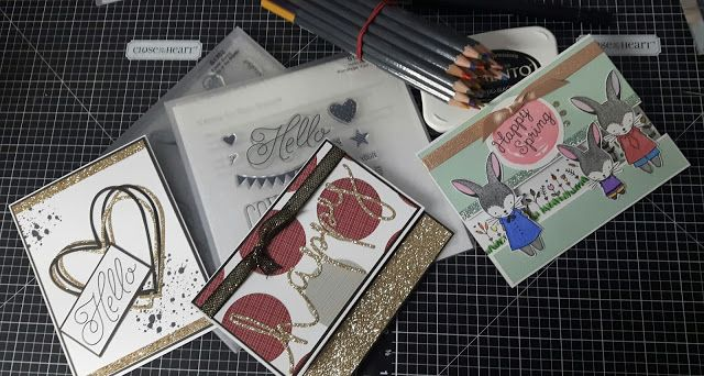 Scrapbooking with Gwen: Cards to Share!  #ctmh  #cards  #thincuts  #sotm #glitterpaper  #circles  #hearts  #easter  #watercolor  #watercolorpencils