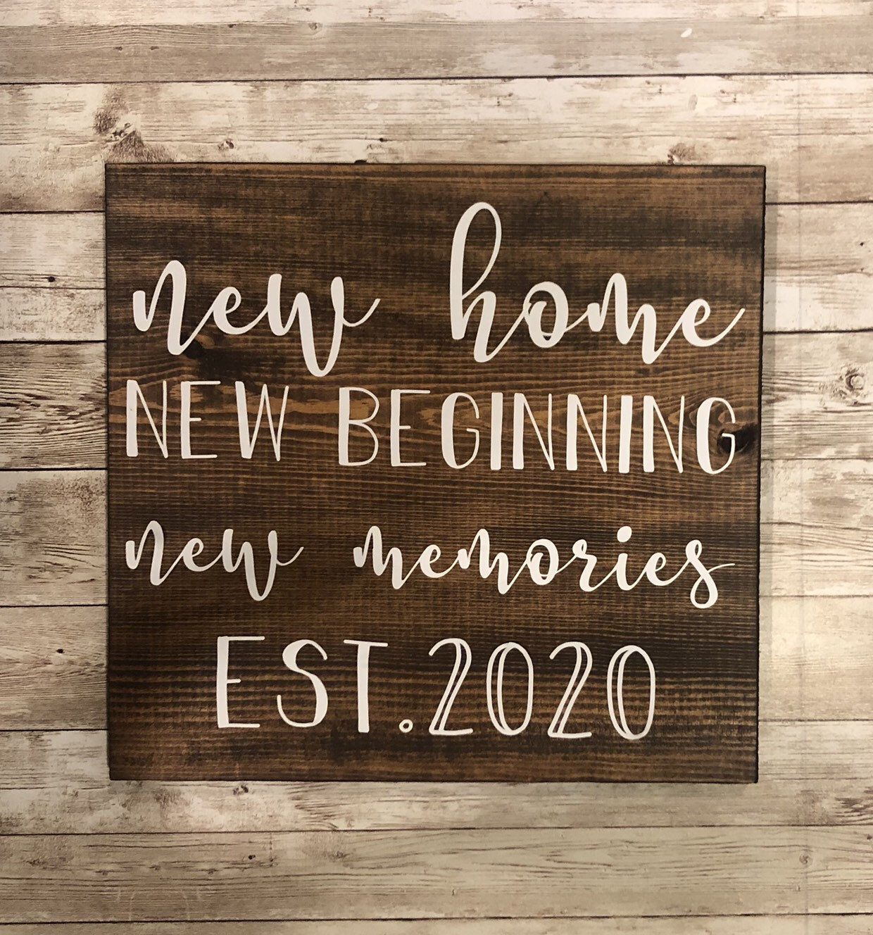New Home Gift First Housewarming Sign Heart Moving Memories Personalised Present