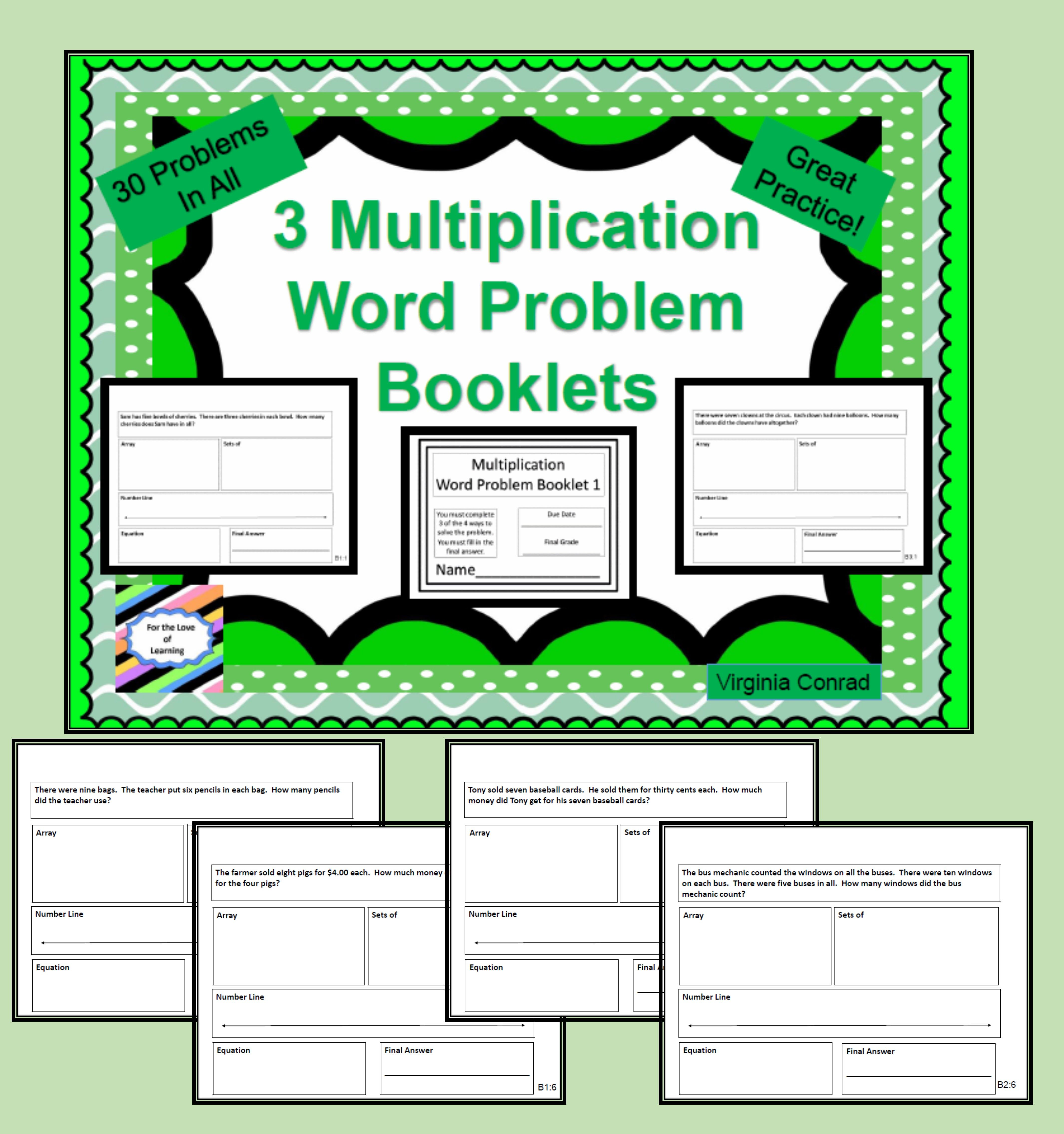 Multiplication Word Problem Booklets