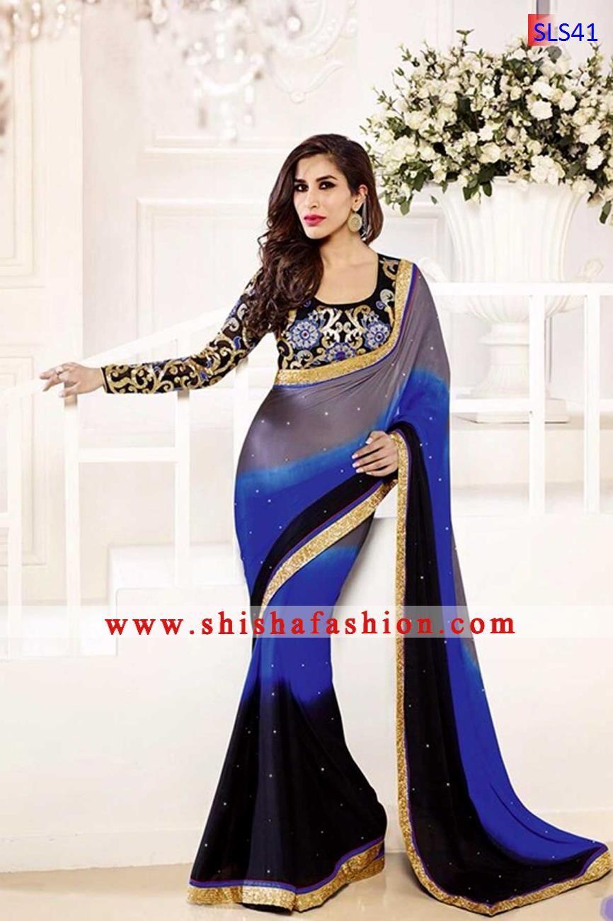 Black colour saree images desirable sheded gray blue u black color satin chiffon fabric