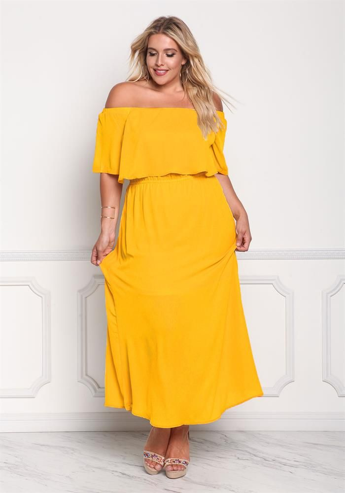 Plus Size Clothing | Plus Size Layered Off Shoulder Maxi Dress ...