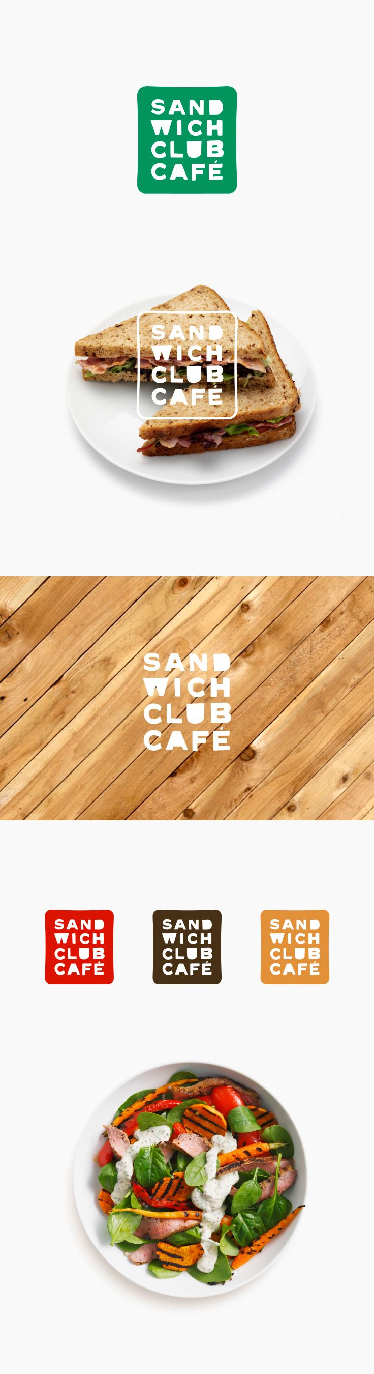 Sandwich Club Cafe new logo design by Soda Comunicacion a Madrid based studio.