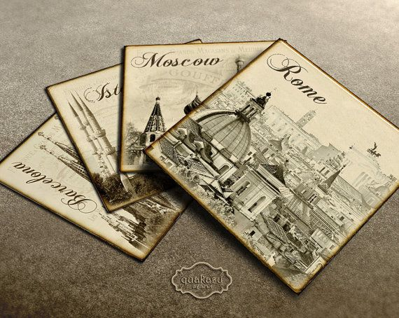Cities Coasters and Squares - London, New York, Barcelona, Rome, Moscow - Square Image - Digital Paper - Vintage Tags - 4 Inch