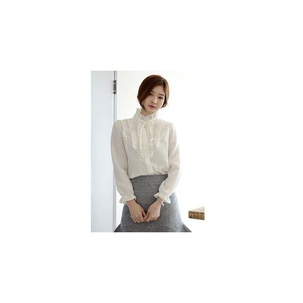 Bow-Front Frill-Trim Blouse (11.500 CRC) ❤ liked on Polyvore featuring tops, blouses, women, white blouse, ruffle top, frill top, white frilly blouse and frilly blouse