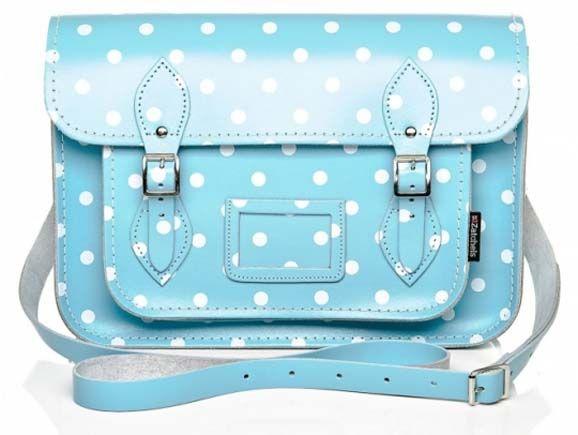 blue handbags with polka dots by Zatchels Girly Handbag