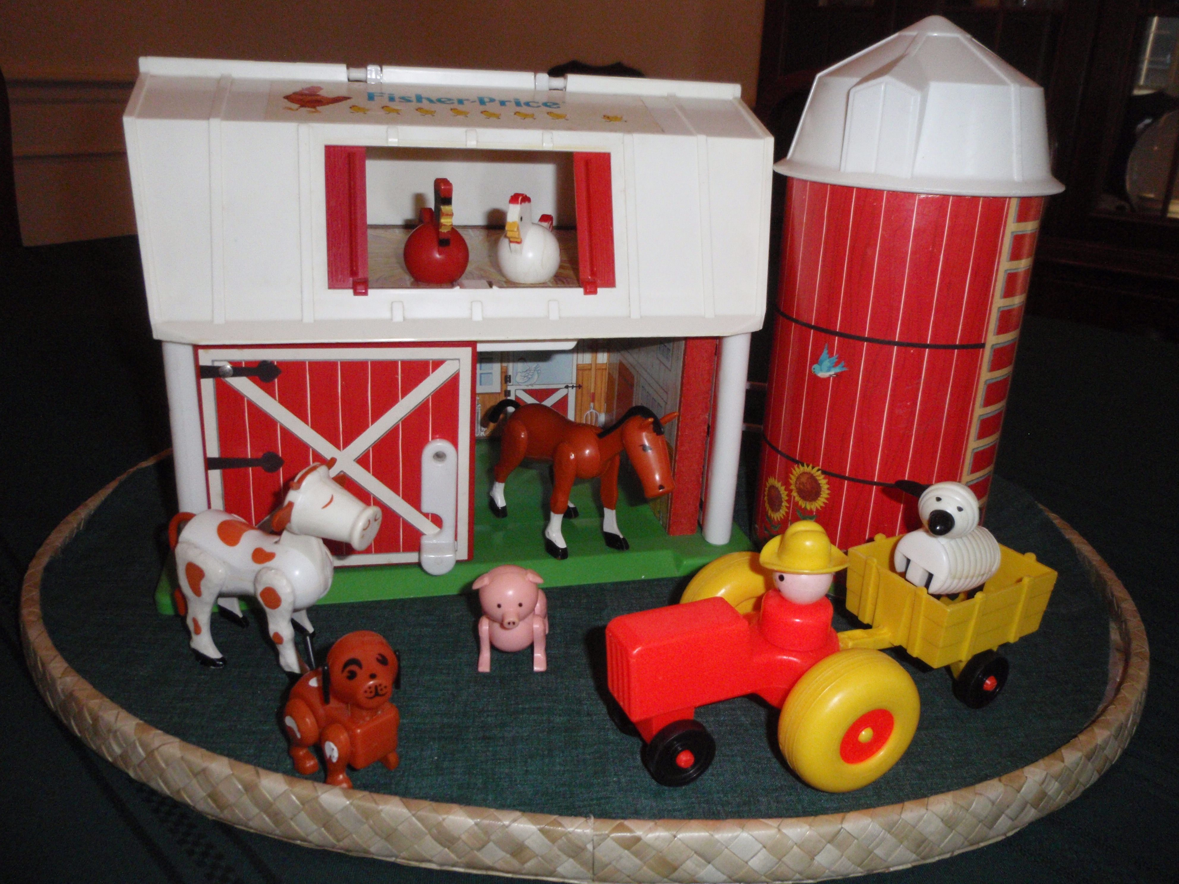 90s car toys  vintage fisher price barnyard I remember the barn door mooing when