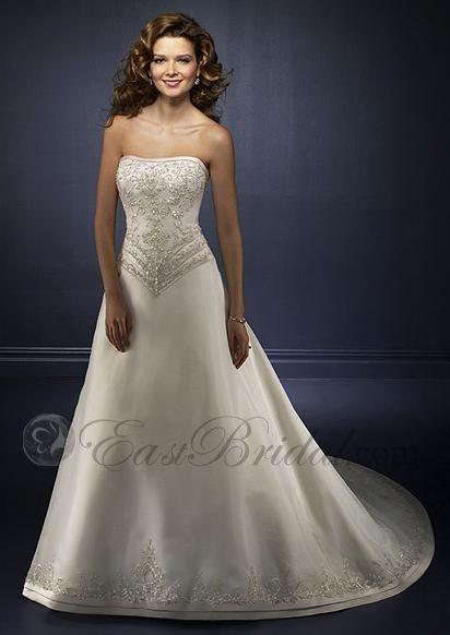 Simple strapless satin chapel train western wedding dress dwwd0006 ...