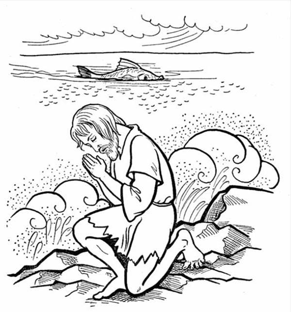 Jonah Praying to God after Being Swallowed by Whale in