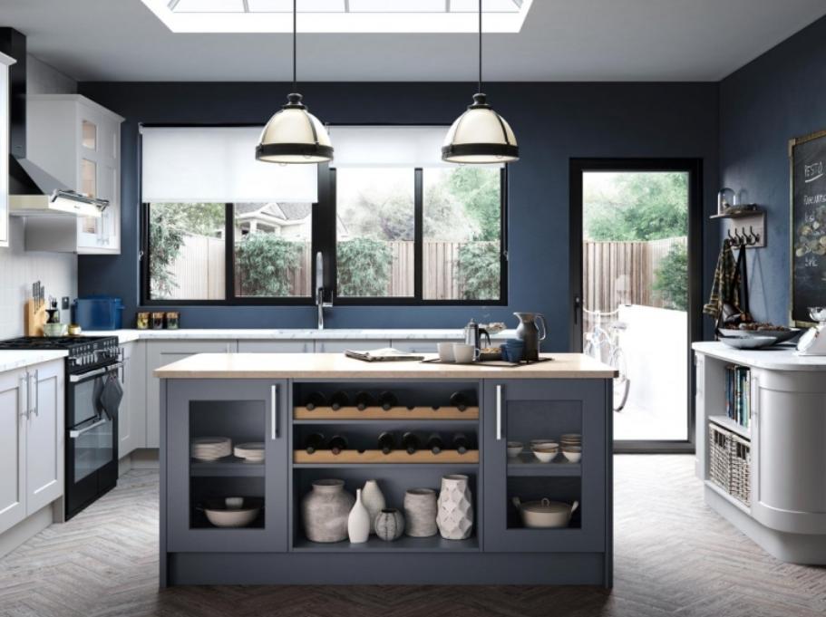 graue küche farbe kochinsel dunkel blaue wände holz