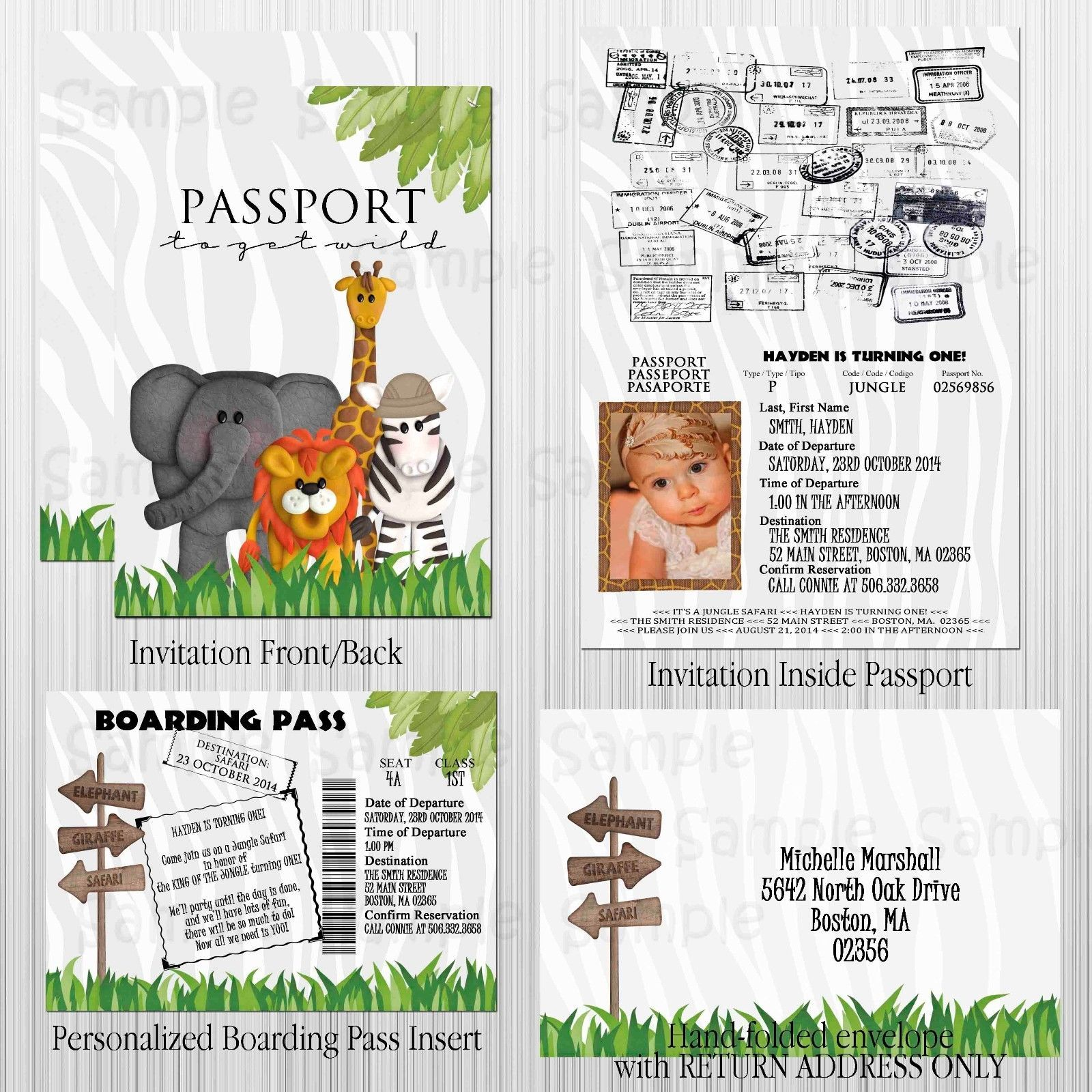 Jungle Safari Passport Birthday Baby Shower Invitation Set