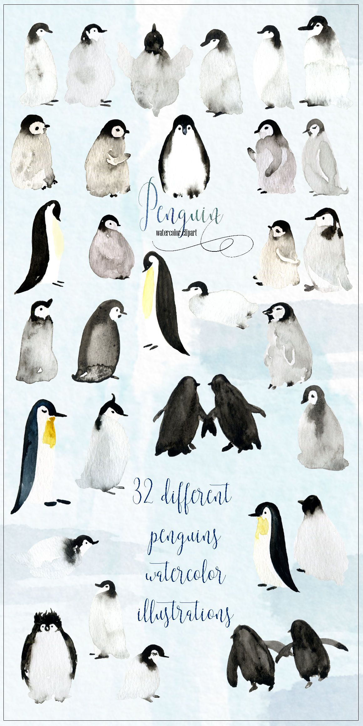 Penguins Watercolor Hand Drawn Illustrations By Labfcreations Thehungryjpeg Com Hand Sponsored Penguin Watercolor Watercolor Animals Penguin Illustration