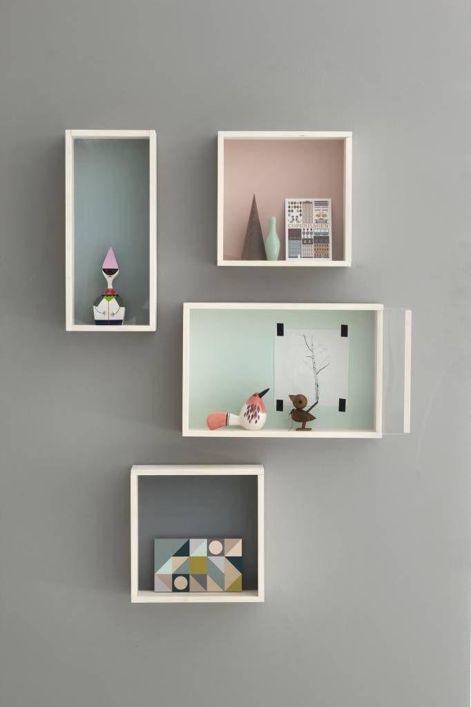 Ferm Living Wandkastje bruin/grijs multiplex 30x30x10cm, Display Box ...