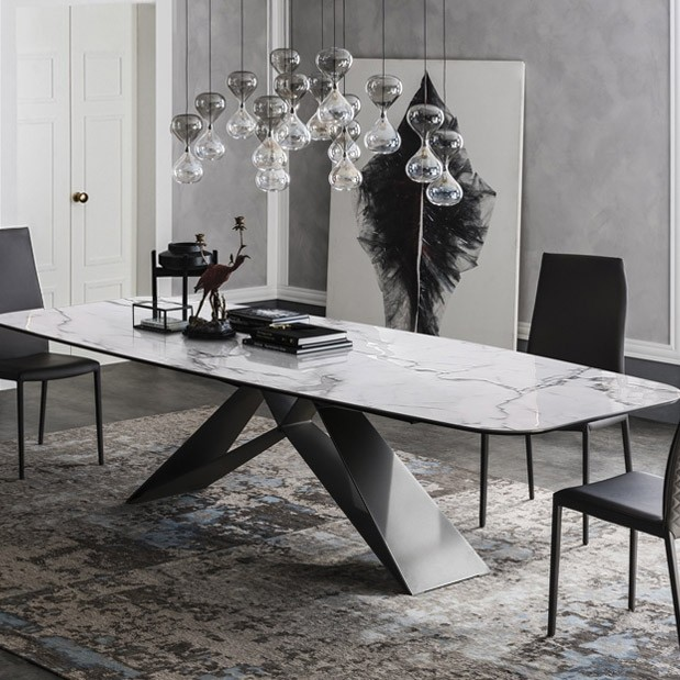Stylish 63 71 79 Rectangular White Faux Marble Dining Table With Black Metal Frame Dining Table Marble Faux Marble Dining Table Marble Dining