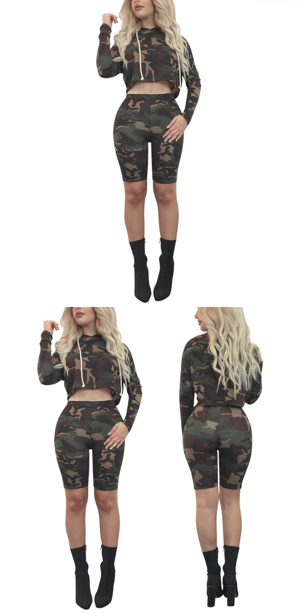 53ff734b4dd9 Fashion Women Army Green Camouflage Shirt Short Top Pencil Shorts Two Piece  Set Long Sleeve Summer Camouflage Suit