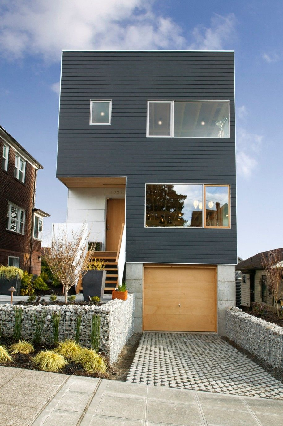 Charming The Best Styles Of House Architecture : Awesome Three Level Modern Cube  House Architecture Design With Small Front Garden And Basement Garag.