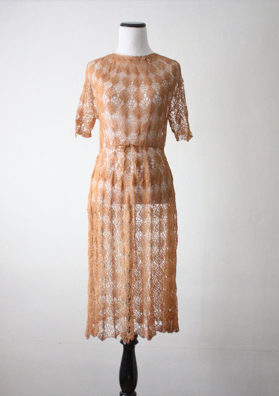 20s Dress 1920 S Knit Dress Honey Crochet Dress Vintage Crochet Dresses Crochet Dress Dresses