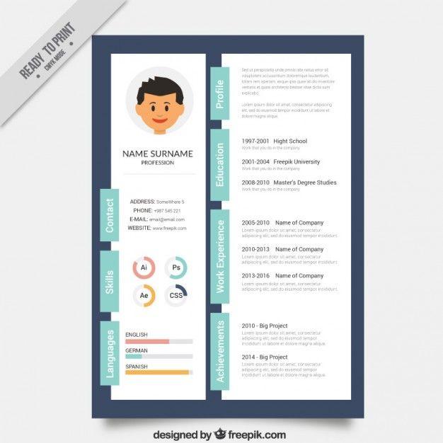 Designer Creative Resume Template Premium Vector Cv Pinterest