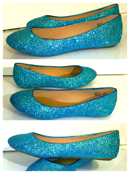 001599612d19 Women s Sparkly Turquoise Blue Glitter BALLET Flats bride wedding shoes prom  - Glitter Shoe Co