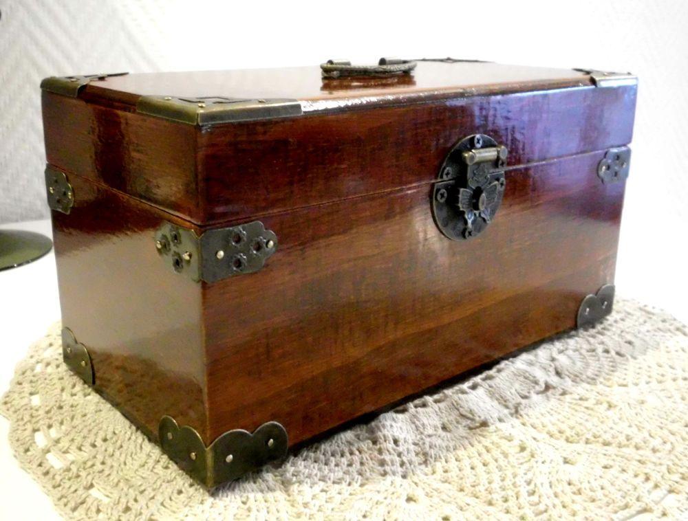 Schmuckschatulle Antik Stil Holz Schmuckkasten Truhe Kiste