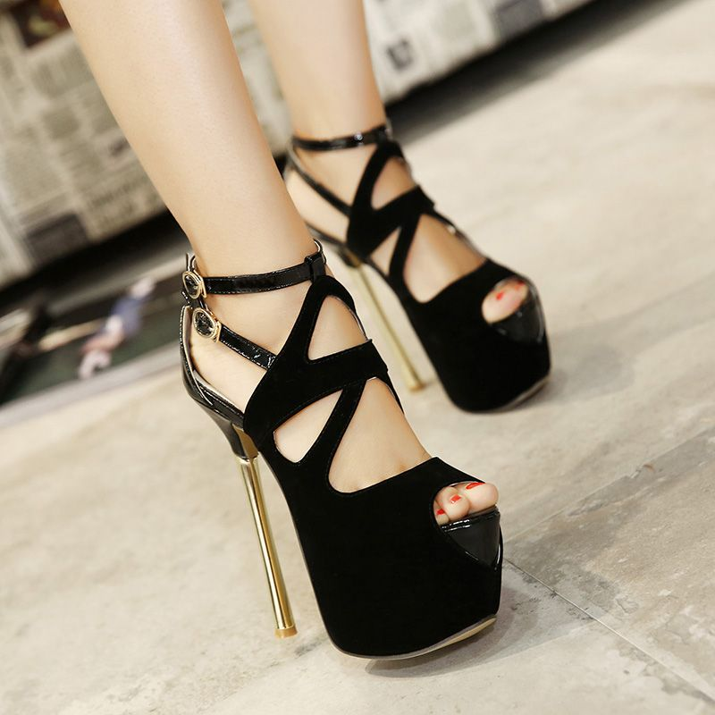 Women's Sandals 2017 New Sexy 11 CM High Heels Party Shoes Open ...