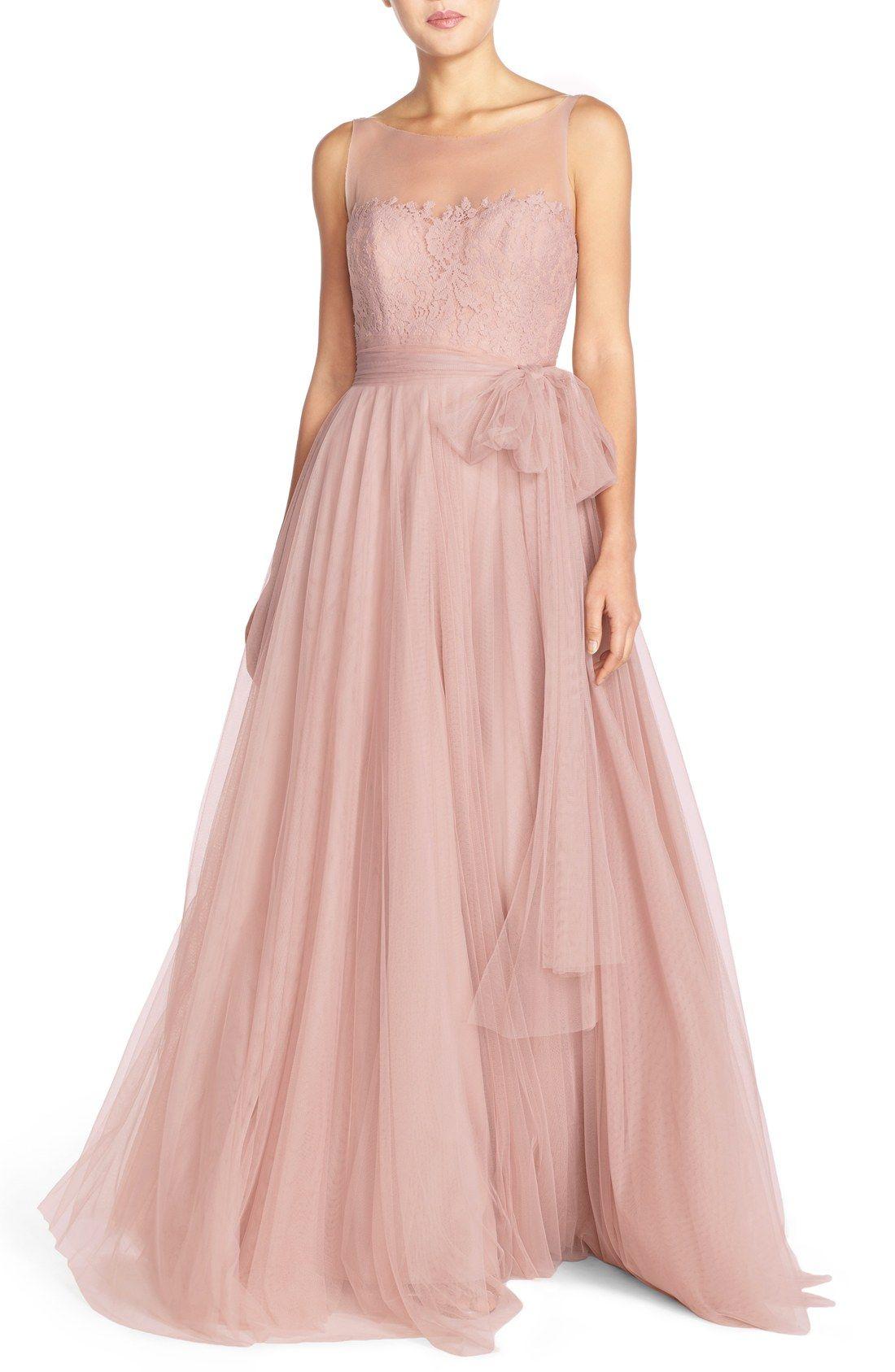 'Lisa' Illusion Yoke Lace & Bobbinet A-Line Gown