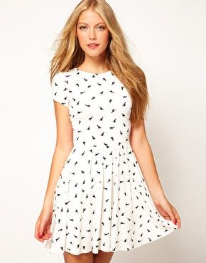 Skater dress with a crew neckline and prints of duck. Dress is ...