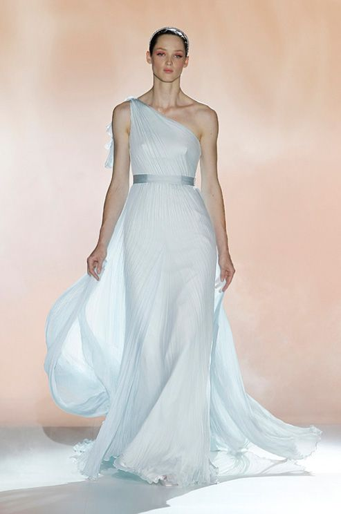 Blue one-shoulder #wedding gown from Rosa Clara, Spring 2013 ...