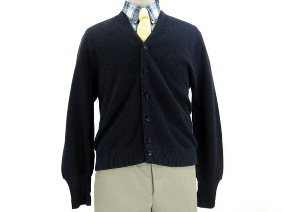 Vintage Navy Blue Cardigan Sweater - Arnold Palmer Button Down ...